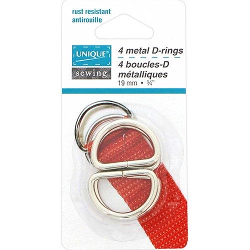 4 Metal 19mm Silver D-Rings