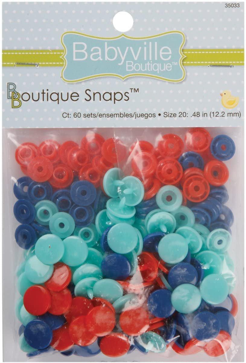 Babyville Boutique Snaps in Red/Blue/Lt Blue (60 Sets)