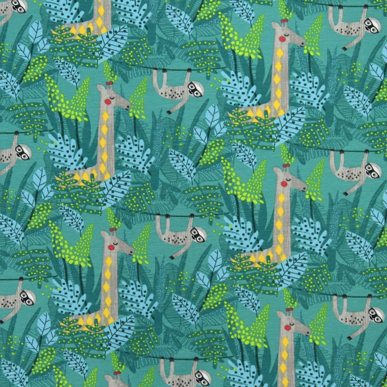 Stof Jersey- Lemurs and Giraffes Jungle
