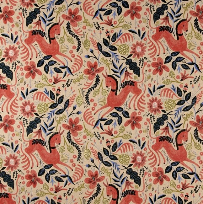 Folk Horse Coral Canvas Rifle Paper Co Les Fleurs