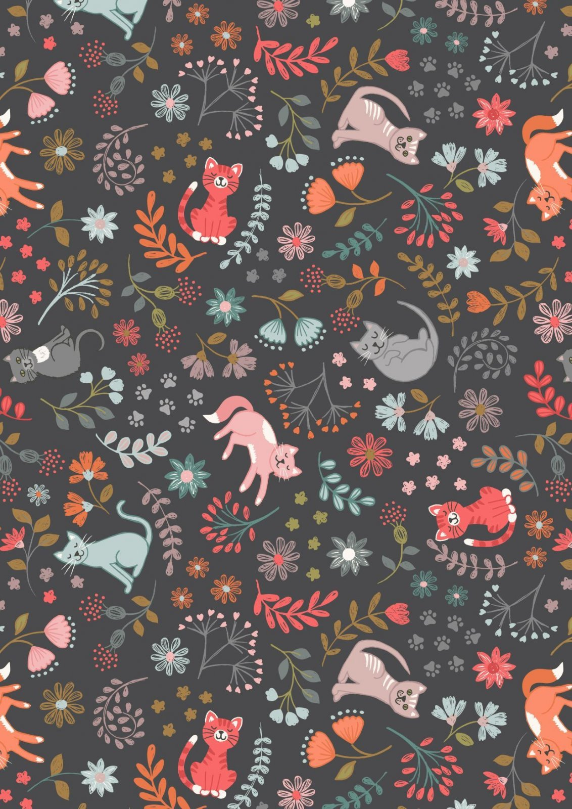 Lewis & Irene Purrfect Petals - Floral Cats in Charcoal