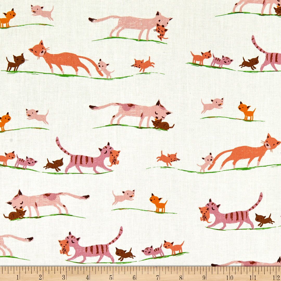 Heather Ross 20th Anniversary - Tiger Lily Morning Cats in Cream