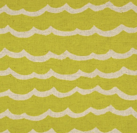 Cotton + Steel Kujira and Star Waves Citron Sea Canvas