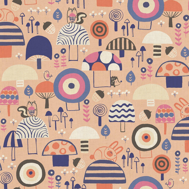 Cotton + Steel Mori No Tomodachi - Kinoko Yama Canvas in Apricot