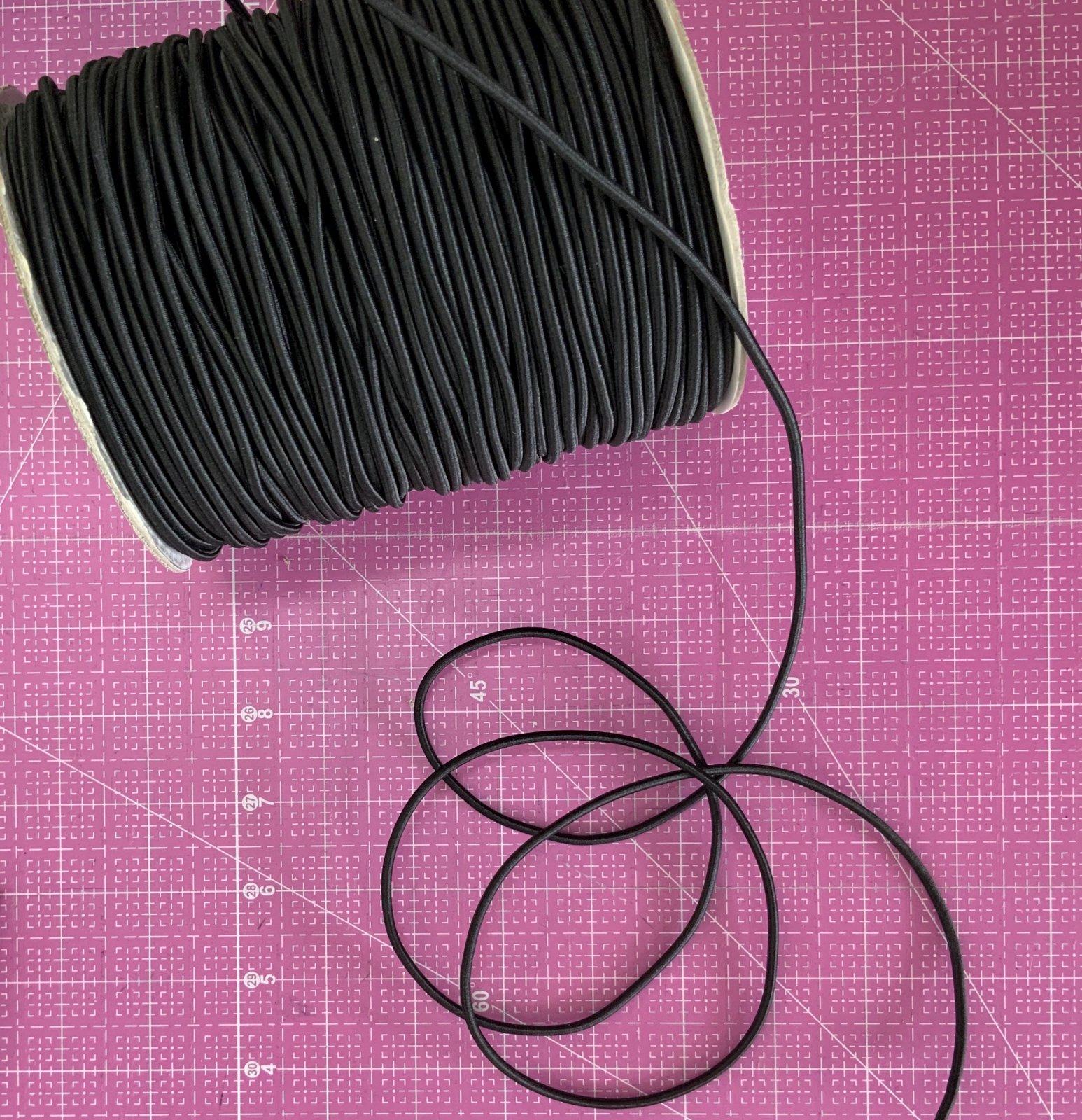 Black Cord Elastic 3mm (1/8 inch)