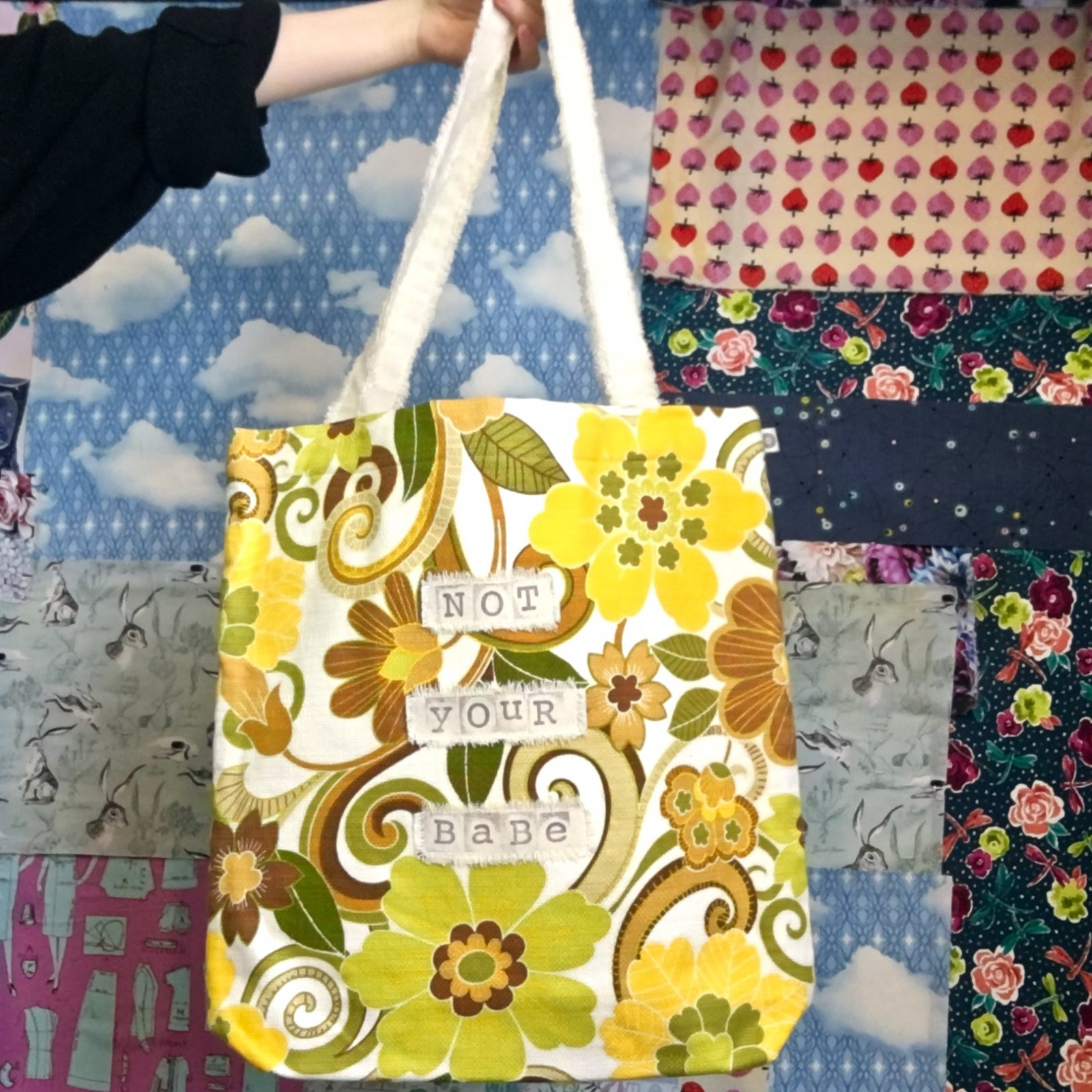 'Not Your Babe' Handmade Groovy Tote Bag