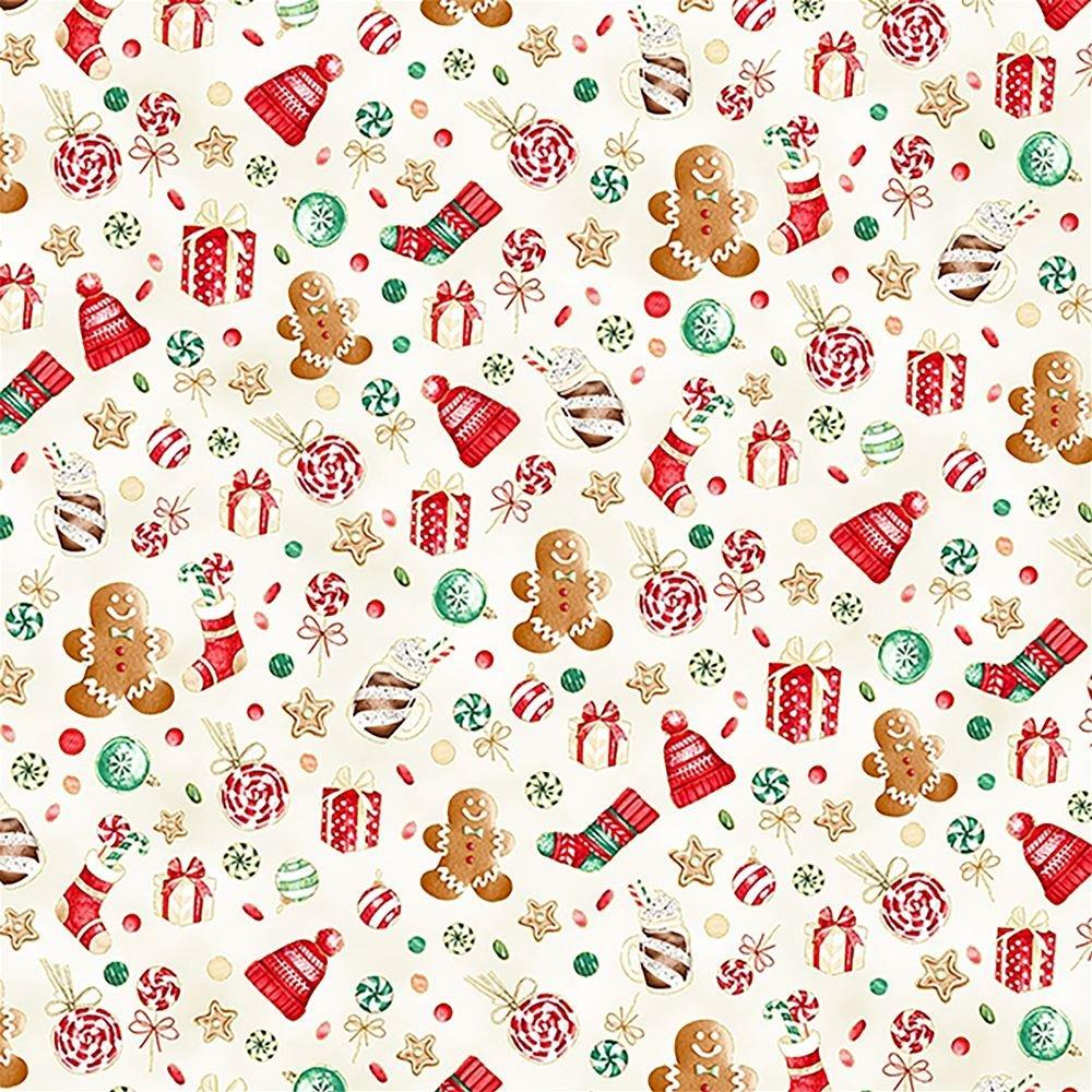 Hoffman Fabrics Gingerbread Lane - Candy Toss in Sky w/ Gold Metallic