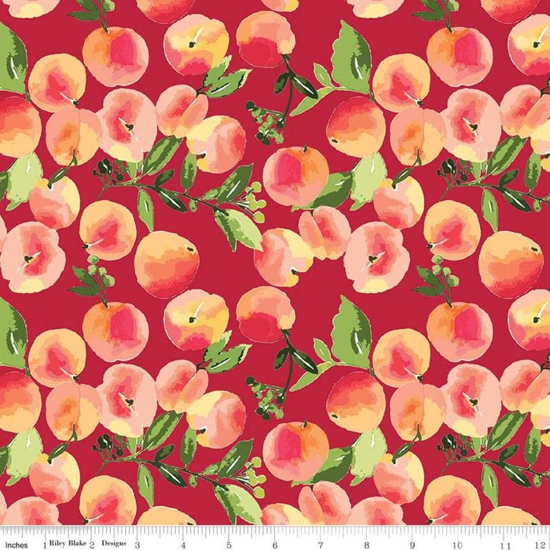 Riley Blake Glohaven -  Peaches in Red