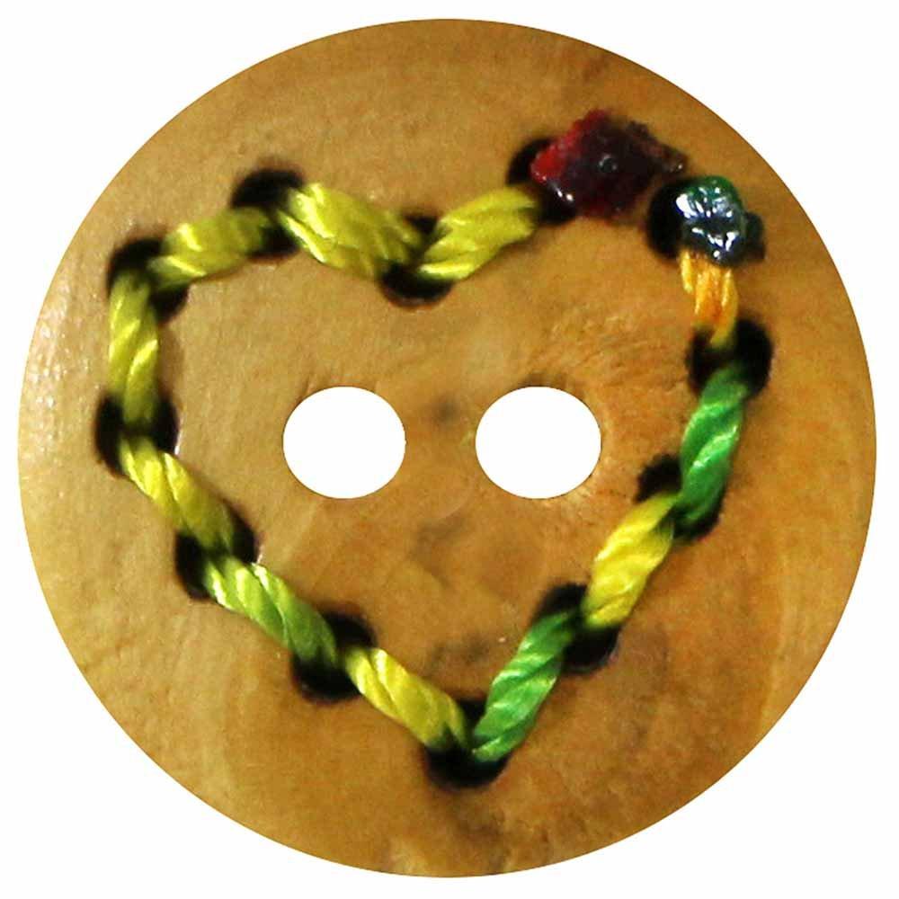 Inspire 2 Hole Button Wood - Mutli Colour