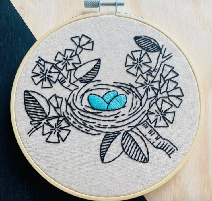 Hook, Line & Tinker - Complete Embroidery Kit 'Nest Egg'