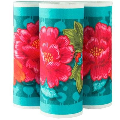 Red Peonies on Turquoise Printed Velvet Border Ribbon 5 wide