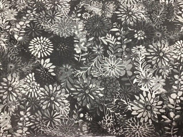 Black/Gray Floral 108 Wide Back