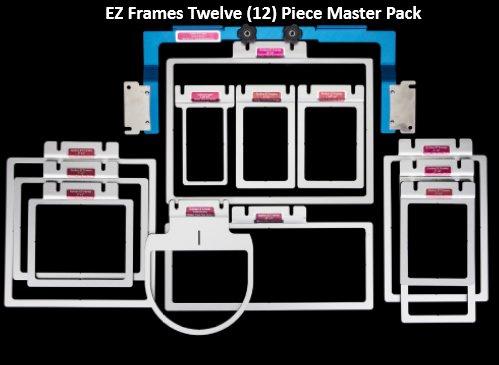 Durkee EZ Frames Master Set Inc: 8 PC Set w/ blue adaptor arm plus 1 1/2x 4, 3x 8, 5x 8 & 12x 4 EZ Frames for Br/BL 6 & 10 Needle Machines Only