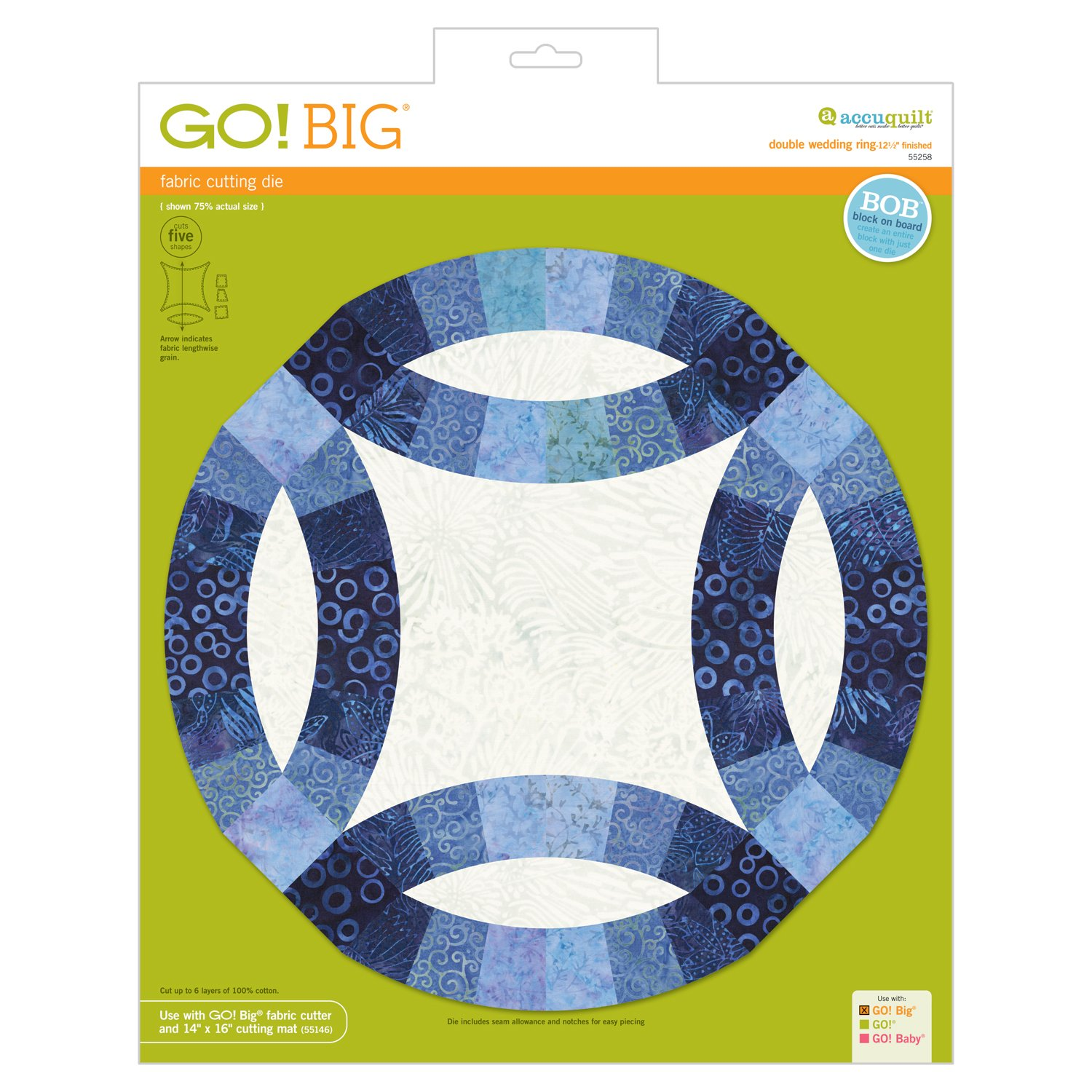 AccuQuilt GO! Big Double Wedding Ring - 12 1/2 Finished - 55258
