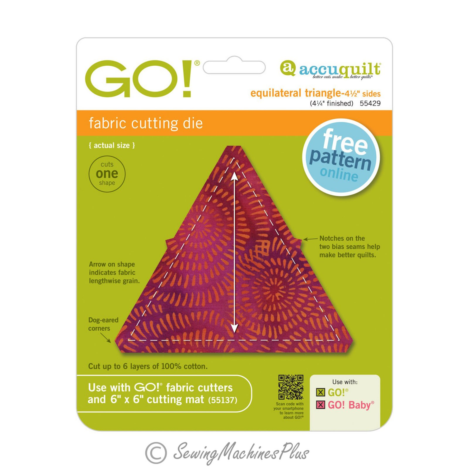 Accuquilt GO! Equilateral Triangle 4 1/2 Sides (4 1/4 Finished) Die - 55429