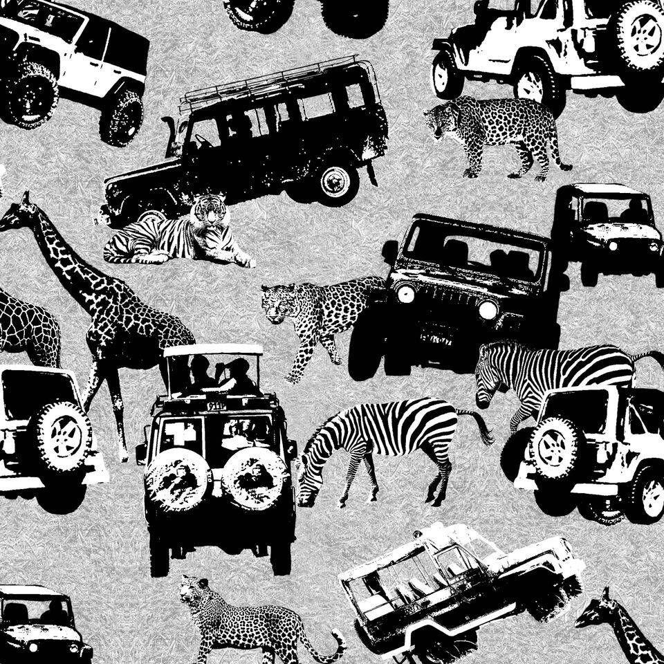 Serengeti - Safari Print - Zebra, Giraffes, Leopards, Tigers &  Jeeps - Black & White