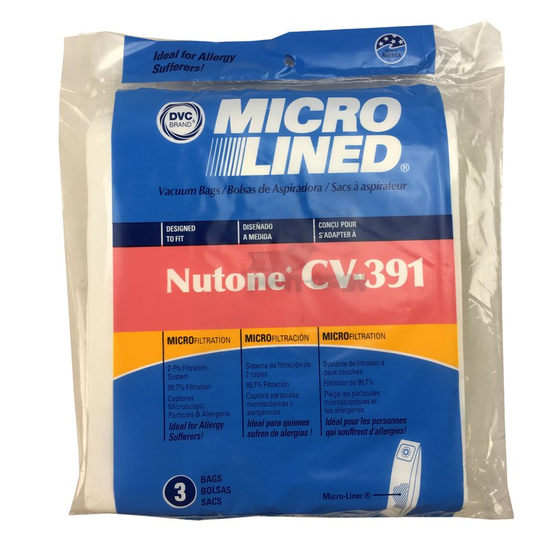 Nutone 391 Central Vac Paper bags 3pk