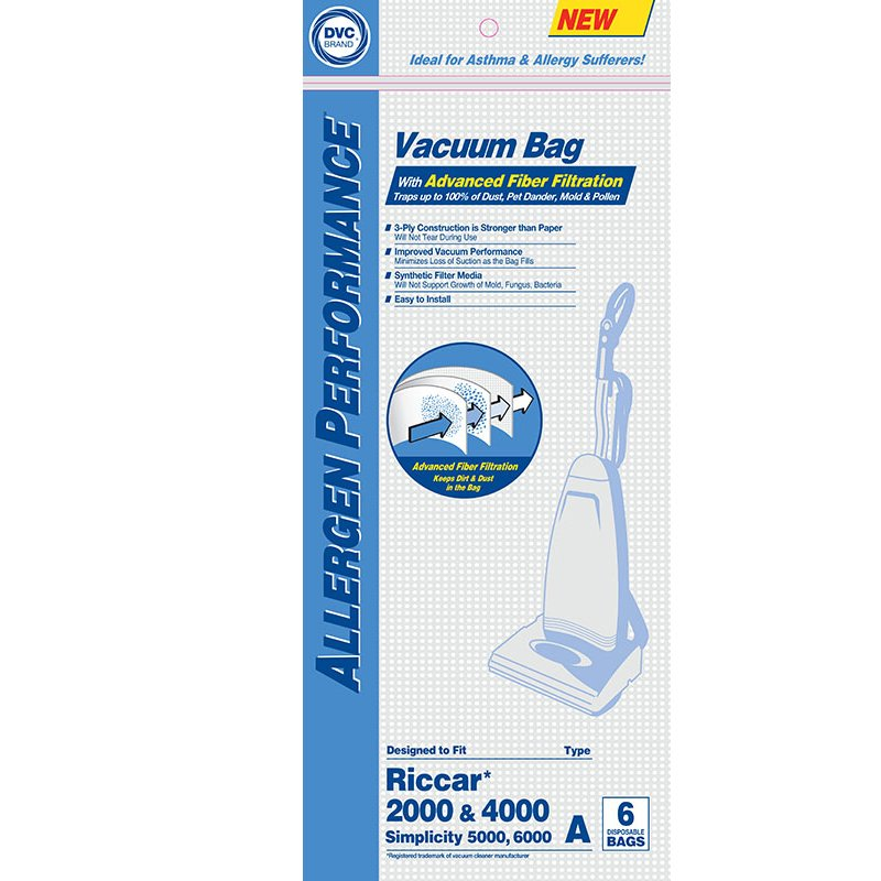 Riccar 2000/4000 type A paper bags 12pk