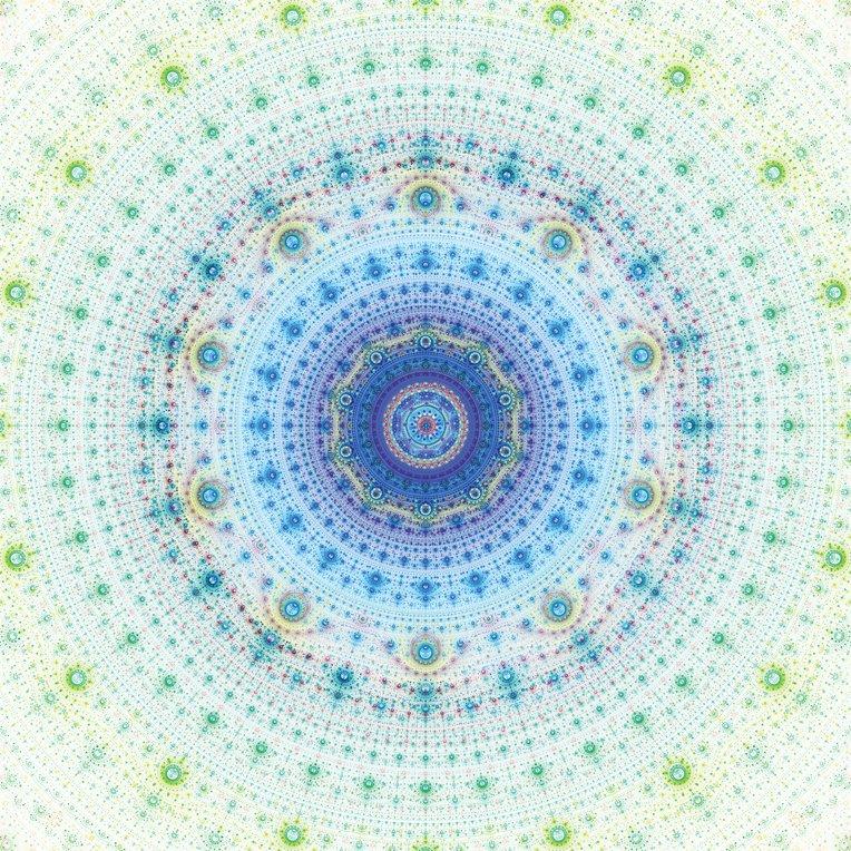 *Clearance!* Gradients Kaleidoscope Mandala Digital Panel 57 x 57 by Moda - Blue