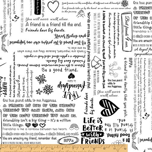108 Be Mindful Friendship Wide Quilt Backing by Whistler Studios - White/Black