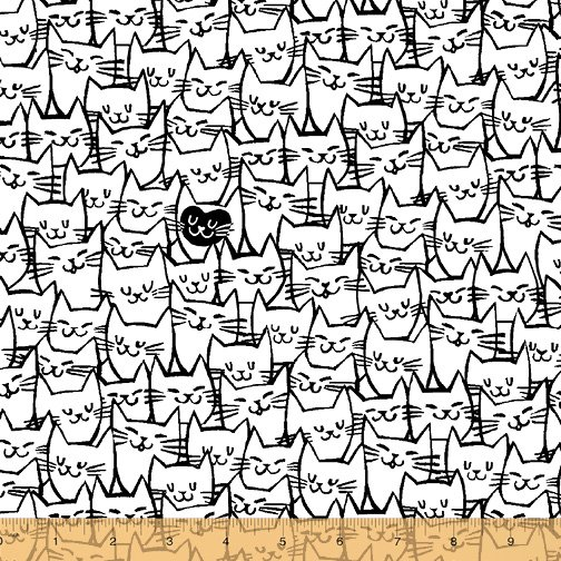 108 Cat Happy Wide Quilt Backing by Another Point of View - White/Black