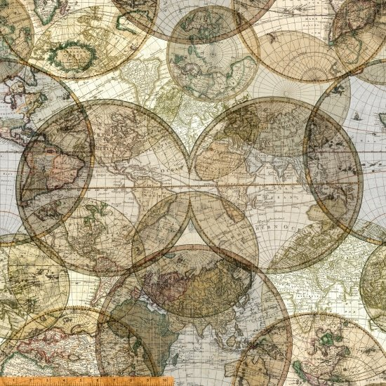 108 World Globes Seven Seas Wide Quilt Backing by Whistler Studios - Multi