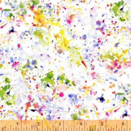 108 Splotch Dropcloth Wide Quilt Backing by Whistler Studios - White/Multi