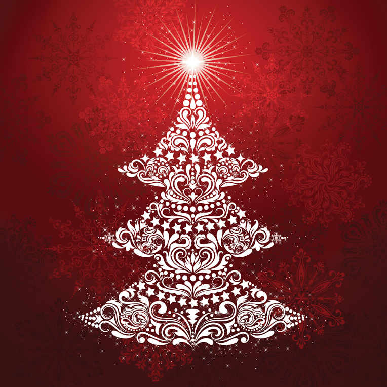 Gradients Holiday Christmas Tree Digital Panel 57 x 57 by Moda - Ruby