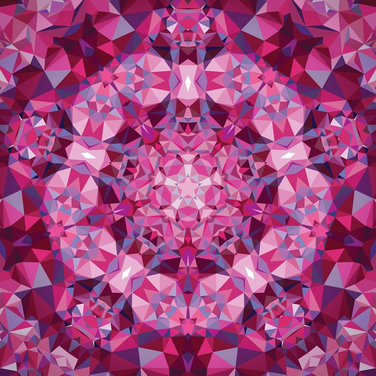 *Clearance!* Gradients Kaleidoscope Digital Panel 57 x 57 by Moda - Pink