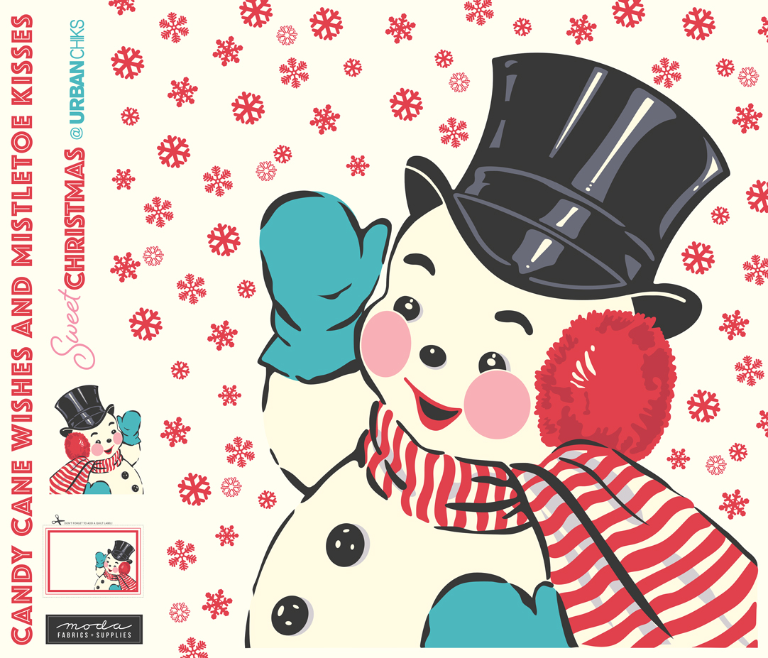 Sweet Christmas Snowman Applique Digital Panel 65 x 57 by Urban Chicks for Moda