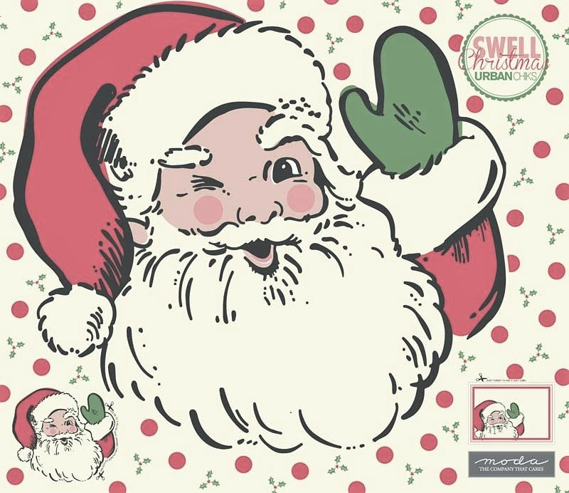 Swell Christmas Santa Applique Digital Panel 57 x 51 by Urban Chicks for Moda