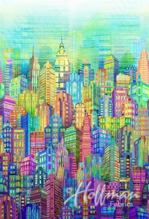 104 Skylines Spectrum Digital Print Wide Quilt Backing by Hoffman - Multi