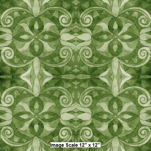 *Clearance!* 108 Baroque Wide Quilt Backing by Blank Quilting - Green
