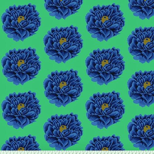 108 Full Bloom Wide Cotton Sateen Quilt Backing by Kaffe Fassett - Blue
