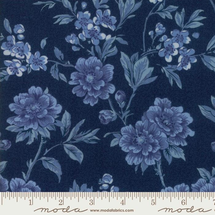 108 Regency Ballycastle Chintz Wide Quilt Backing by Christopher Wilson Tate for Moda - Dark Blue