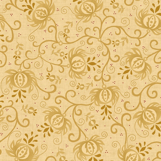 **LAST CHANCE; DISCONTINUED** 108 Spiced Pomegranate Wide Quilt Backing by Kim Diehl - Light Tan