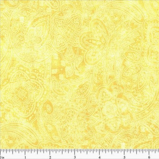 108 Value Collection Subtle Paisley Wide Quilt Backing - Buttercup