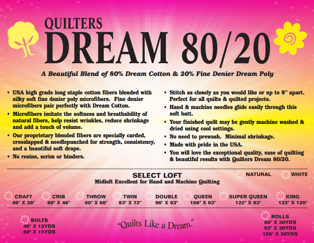 Quilters Dream 80/20 Batting - Select Loft - White
