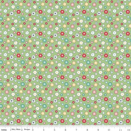 1+1/3 Yard Remnant of 107/108 Vintage Happy 2 Blossom Wide Quilt Backing by Lori Hold of Bee in My Bonnet for Riley Blake Designs - Green