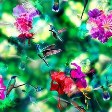 1 Yard Remnant of 104 Hummingbird Haven Spectrum Digital Print Wide Quilt Backing by Hoffman