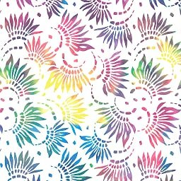 7/8 Yard Remnant of 108 Petals Essential Wide Quilt Backing - White/Multi