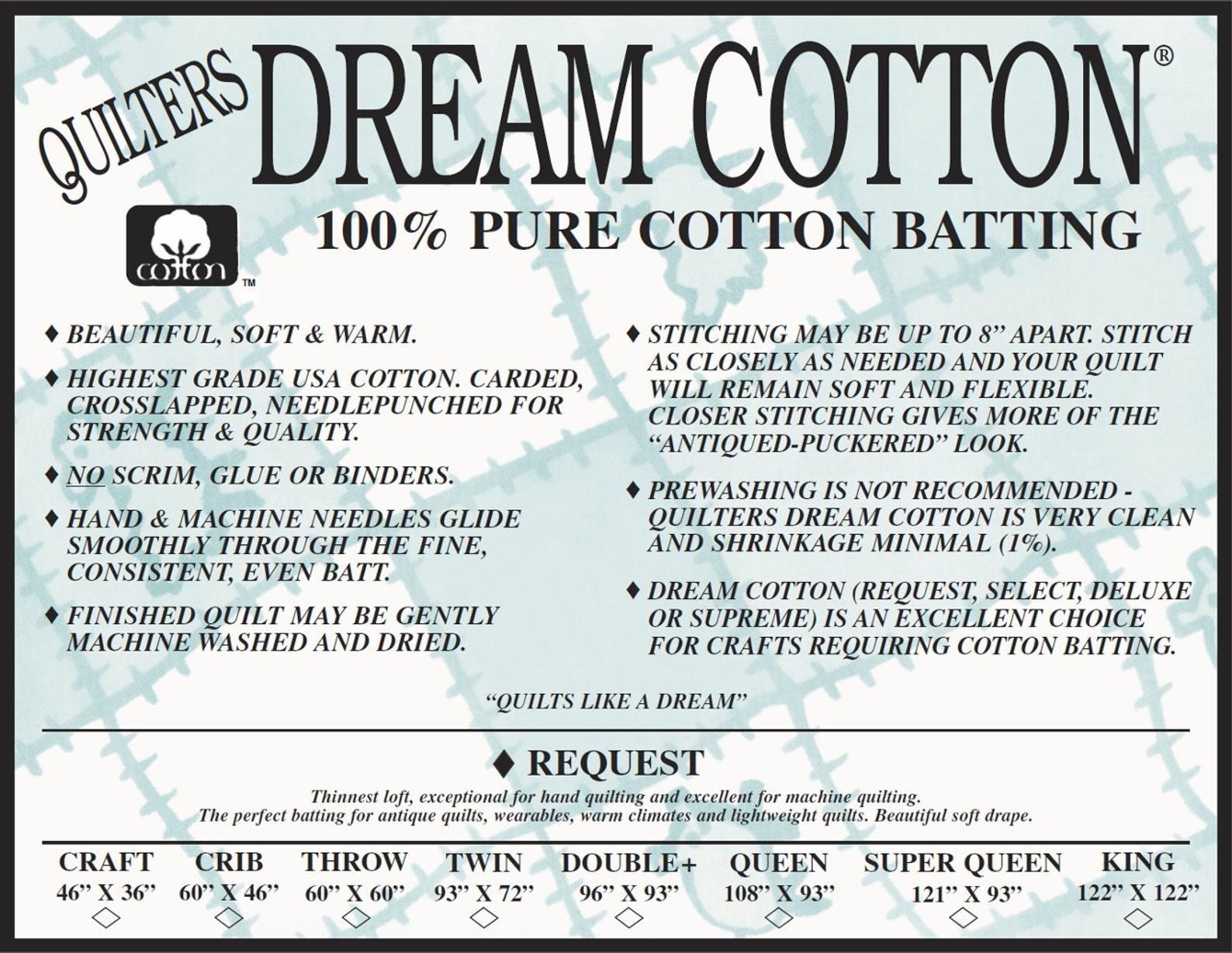 Quilters Dream Cotton Batting - Request Loft - White