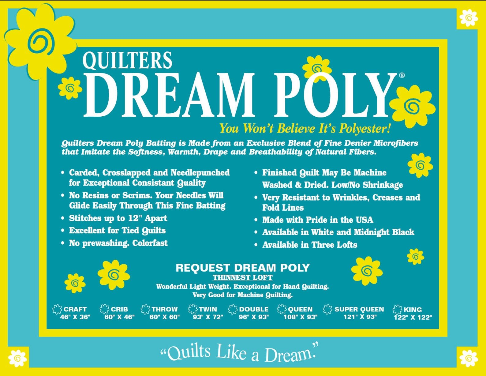 Quilters Dream Poly Batting - Request Loft