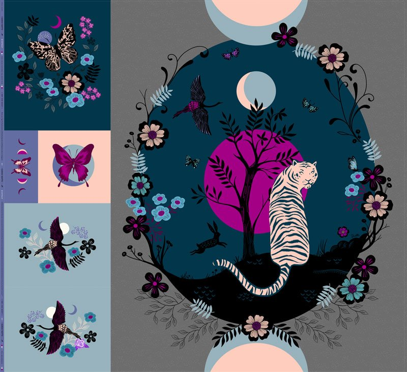 Tiger Fly Panel 98 x 108 by Sarah Watts for Ruby Star Society by Moda