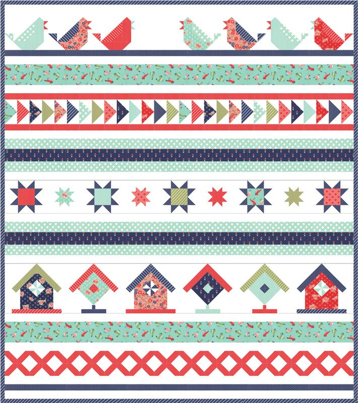 **On Sale; Includes FREE Backing!** Bonnie & Camille Early Bird Songbird Quilt Kit by Moda 42 x 48