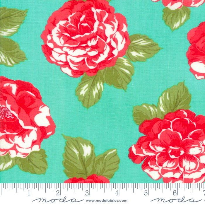 108 Early Bird Blooms Cotton Sateen Wide Quilt Backing by Bonnie & Camille for Moda - Aqua