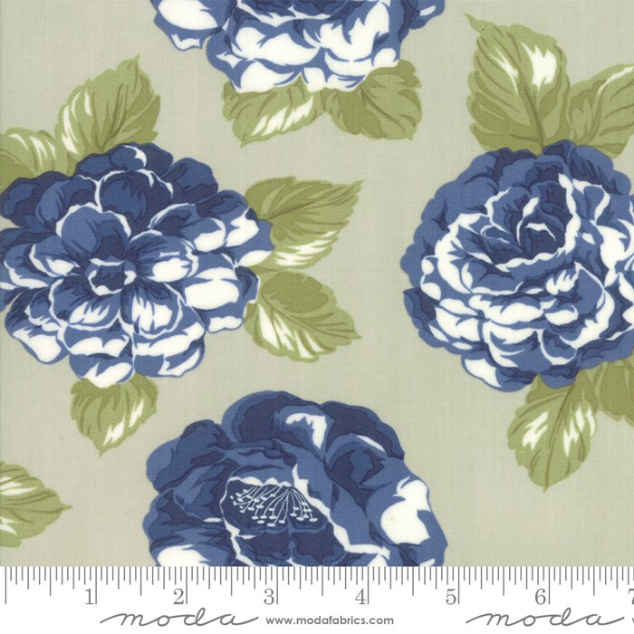 108 Early Bird Blooms Cotton Sateen Wide Quilt Backing by Bonnie & Camille for Moda - Gray