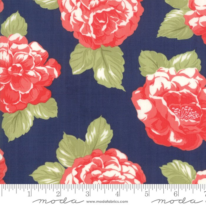 108 Early Bird Blooms Cotton Sateen Wide Quilt Backing by Bonnie & Camille for Moda - Navy