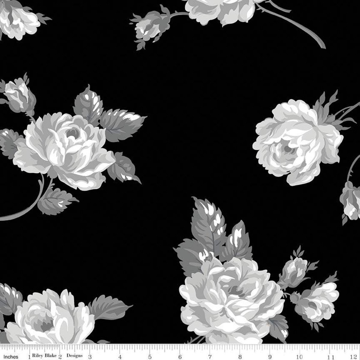 107/108 Serenity Floral Wide Quilt Backing by Gerri Robinson of Planted Seed Designs for Riley Blake Designs - Black