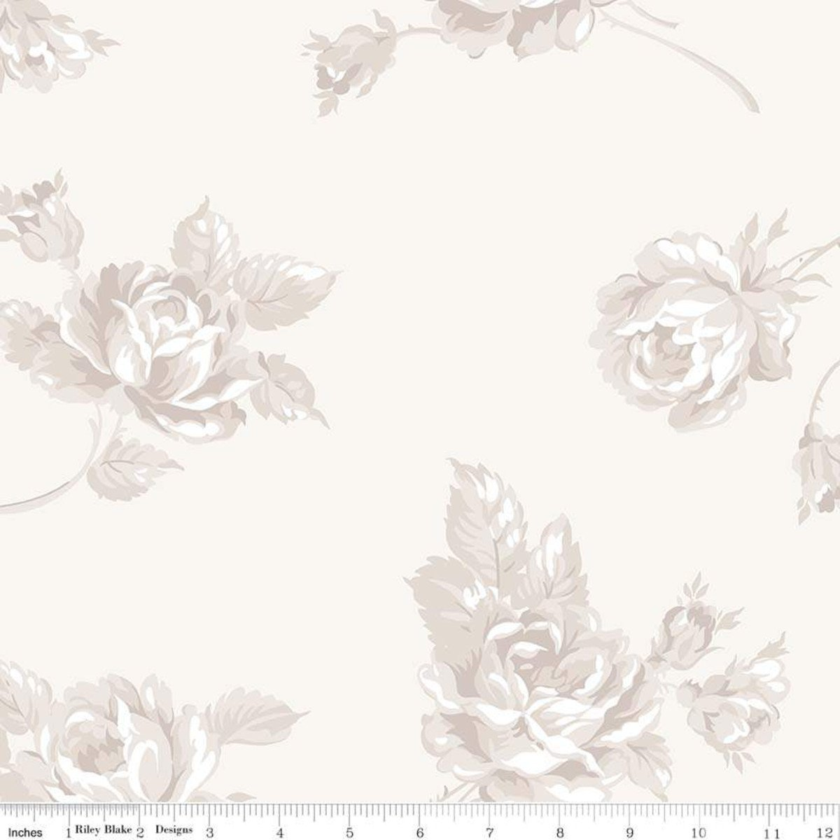 107/108 Serenity Floral Wide Quilt Backing by Gerri Robinson of Planted Seed Designs for Riley Blake Designs - Cream